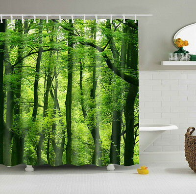 Shower Curtain Natural Scenery Green Forest Design Bathroom Waterproof Fabric