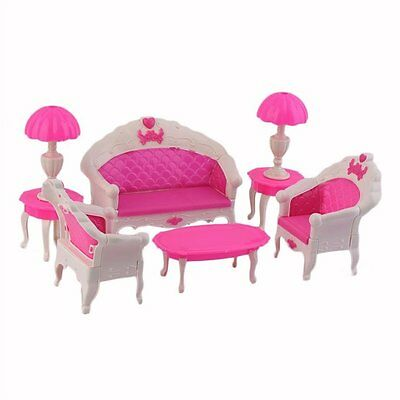 8Pcs Toys Barbie Doll Sofa Chair Couch Desk Lamp Furniture Set Disassembled P4E6