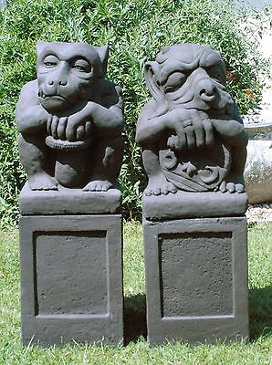 Pair Of Amazing Gargoyles On Stands Garden Ornament Statue Feature Decoration..