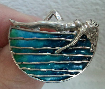 Silver Scottish Enamel Naked Lady Sun Bather Brooch  Norman Grant 1979 Edinburgh