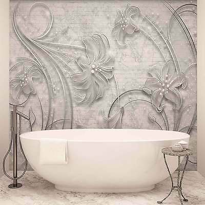 WALL MURAL PHOTO WALLPAPER XXL Floral Abstract Silver Grey (2340WS)