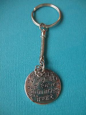 Dog Memorial Keyring Forever In My Heart Puppy Metal Key Ring Engraved Tag Charm