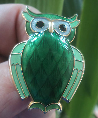 Super Norwegian Sterling Silver & Green Enamel Owl Brooch  David Andersen Norway