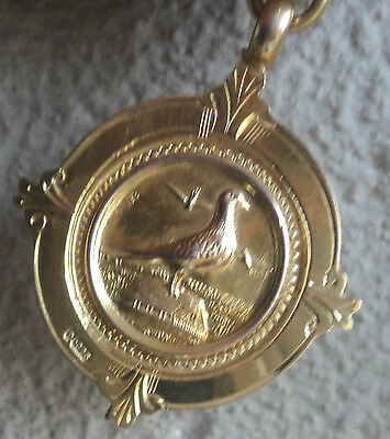 Super 9ct Yellow Gold  Pigeon Fob Medal / Pendant  1938  Chester  - not engraved