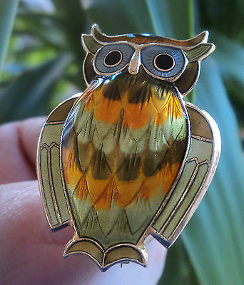 Super Norwegian Sterling Silver Green Enamel Owl Brooch - David Andersen Norway
