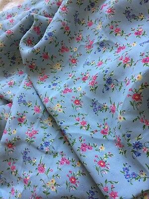 Vintage Floral Calico Chintz Blue Pink  Silk Cotton 3 Yards Fabric Material