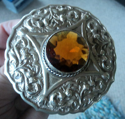 VERY LARGE Silver Celtic Scottish Mizpah Citrine / Cairngorm  Brooch c.1940/50s