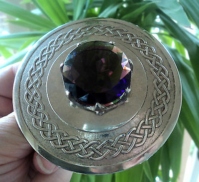 VERY LARGE Silver Celtic Scottish Amethyst Plaid Mizpah Style Brooch c.1950/60s