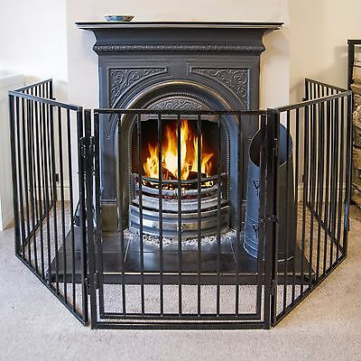 3 Meter Fire Guard 5 Panel Step-through Safety Fireplace Pet Metal Screen Black