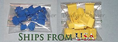 20PCs Blue/Yellow Quick Lock/Snap On Splice Crimp Wire Electrical Cable Connecto