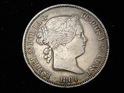 1864 M Spain 20 Reales Silver Coin Looks VF+ Km #609.2