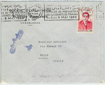 59250 -    MOROCCO - POSTAL HISTORY: COVER to ITALY 1966 - ACCIDENT PREVENTION