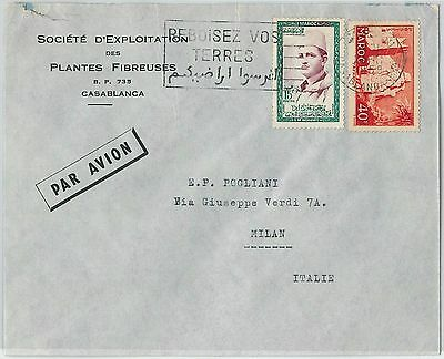 59257 -    MOROCCO - POSTAL HISTORY: COVER to ITALY - 1958   PALM TREES