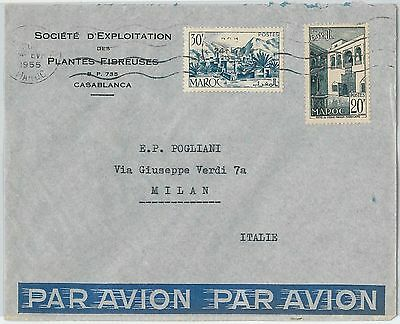 59264 -    MOROCCO - POSTAL HISTORY: COVER to ITALY - 1955   PALM TREES