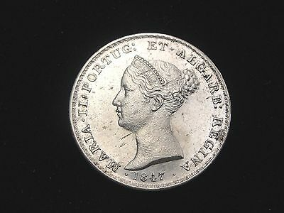 1847 Portugal 500 Reis Silver Coin Looks XF Km #471
