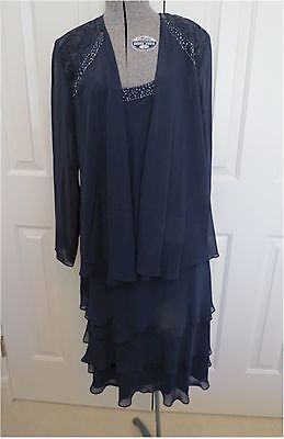 S.L.Fashions Mother-of-Bride/Party Chiffon Jacket Dress Navy Sz10 MSRP$119.