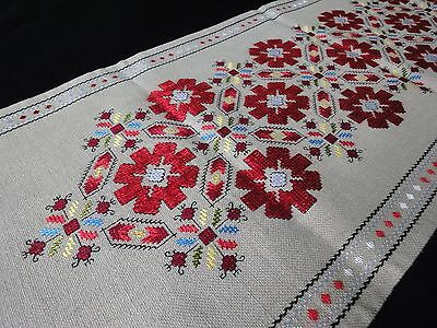 Vintage Hand-Embroidered Linen Table Runner with Beautiful Silk Red Embroidery