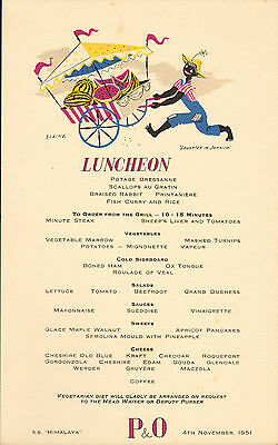 p & o - s.s. himalaya menu (  1951 )  luncheon ( laughter in jamaica )