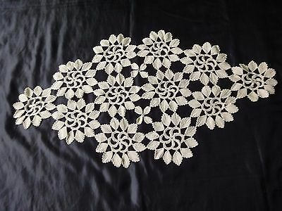 Gorgeous Floral Vintage Handmade Cotton Crochet Tablecloth in Ecru Colour