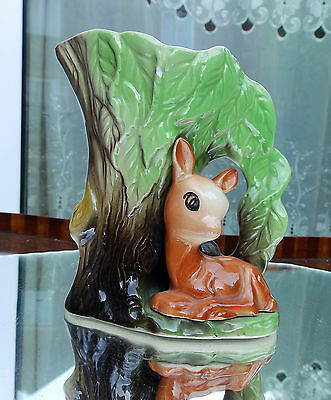 Vintage Pottery : EASTGATE Withernsea Jug With Fawn/Deer Mould Number 58.