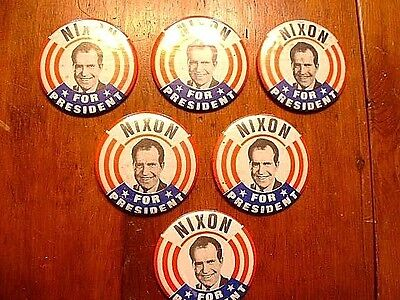 6 - Vintage 1968 Nixon For President Pin Back Buttons