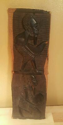 """Rare Vintage African Tribal Art Wall Plaque Solid Wood Hand Carved 16"""" X 5.5"""""""