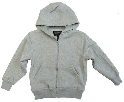 Boys Kids Children Jacket Flees Sweatshirt Hoodie Zip Up Size 8 10 12 14 Gray nw
