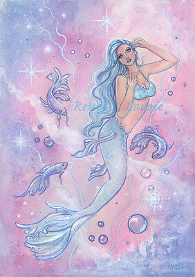 Frosty betta mermaid  greeting card AND magnet by Renee L Lavoie made in the USA