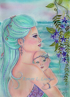 Mermaid and baby  note card AND magnet by Renee L Lavoie made in the USA