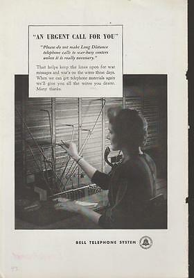 Switchboard Operator 1943 PRINT AD Bell Telephone System Vintage Rare