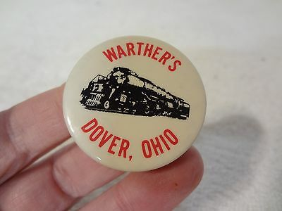 Vintage DOVER OHIO - WARTHER'S RAILROAD MUSEUM PIN BACK