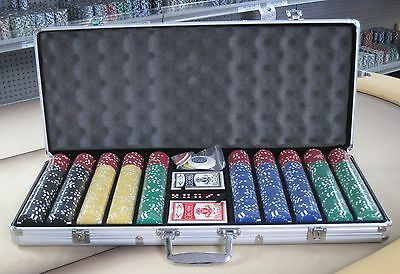 650 Chips Poker Six Stripe Chip Set W/ Dice Decks Dealer Kit & Silver Case Keys*