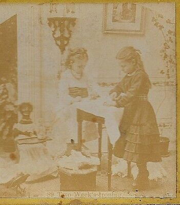 Antique Black Doll ~ Girls Ironing Doll Clothes ~ Stereoview