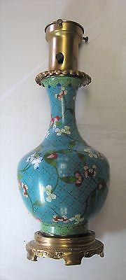 Chinese Cloisonne Vase Mounted as Lamp - Colonial Premier Lamp Company - vintage
