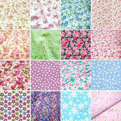 Floral Fabric FAT QUARTERS Roses Polycotton Material Vintage Pink Blue White Red