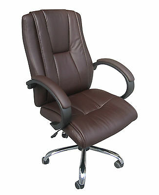 Luxury Executive Brown Leather Home Study Office Computer Quality Chair-3211