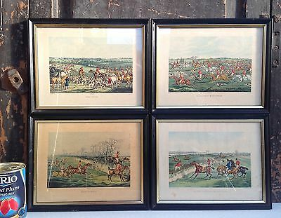 4 small framed Alken hunting prints pub c 1835