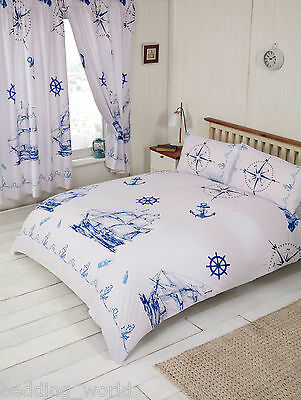 Nautical Blue White Ship Boat Anchor Lighthouse Compass Rope Bedding Or Curtains