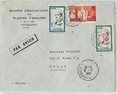 59269 -    MOROCCO - POSTAL HISTORY: COVER to ITALY - 1960   PALM TREES