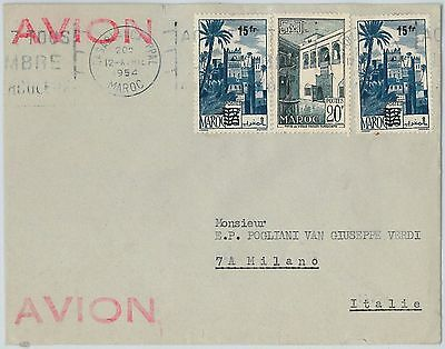 59282  -    MOROCCO - POSTAL HISTORY: COVER to ITALY - 1954   PALM TREES