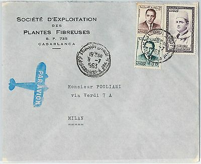 59283 -    MOROCCO - POSTAL HISTORY: COVER to ITALY - 1963