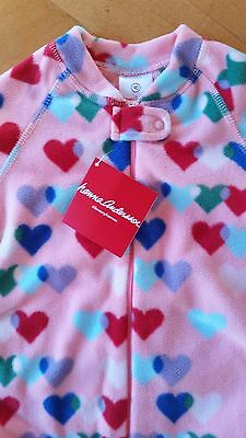 Nwt Hanna Andersson Microfleece Snugglesuit Hearts Footed Footie Pajamas 90 3T 3