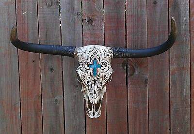 TURQUOISE CROSS COW SKULL Faux Steer Cow Bull Skull Western Rustic Wall Decor