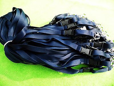 50 x Navy Blue Lanyard,Neck Strap with Detachable Buckle & Strong Metal Clip