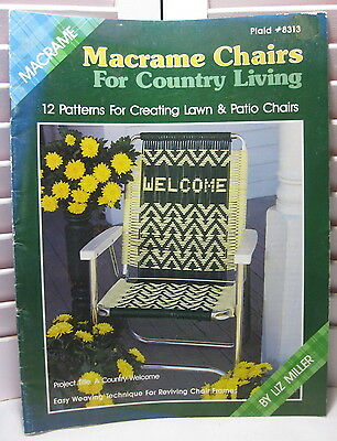 Vintage 1988 MACRAME CHAIRS for Country Living PLAID Macrame Pattern Book 8313