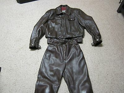 Vtg Bmw Leather 2 Piece Motorcycle Suit Made In Germany