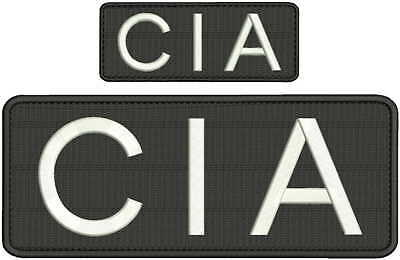 CIA  embroidery patch 4x10 and 2x5 white hook