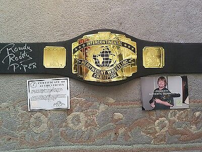 rowdy rody  piper signed wwe wrestling belt. AUTHENTIC SIGNINGS INC