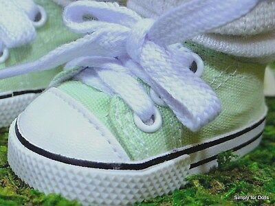 """**SALE** LT. GREEN DENIM Canvas DOLL SNEAKERS Tennis SHOES fit 18"""" AMERICAN GIRL"""