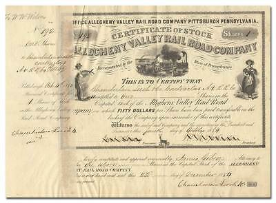 Allegheny Valley Rail Road Company Stock Certificate (Issued in 1854)